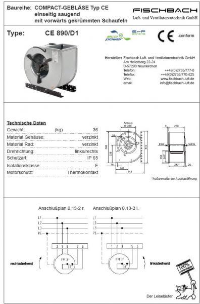 Compact-Gebläse einseitig saugend CE890D1