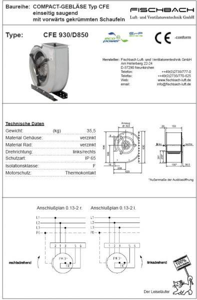 Compact-Gebläse einseitig saugend CFE930D850