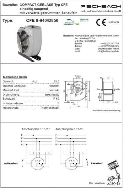 Compact-Gebläse einseitig saugend CFE8-940D850