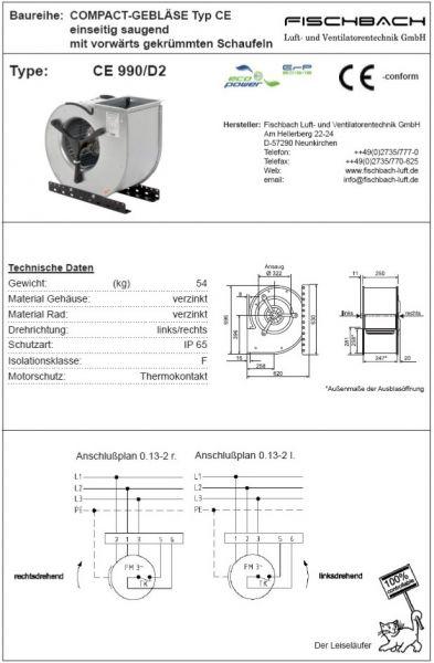 Compact-Gebläse einseitig saugend CE990D2