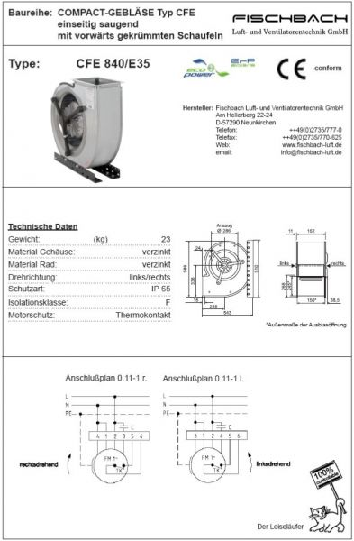 Compact-Gebläse einseitig saugend CFE840E35